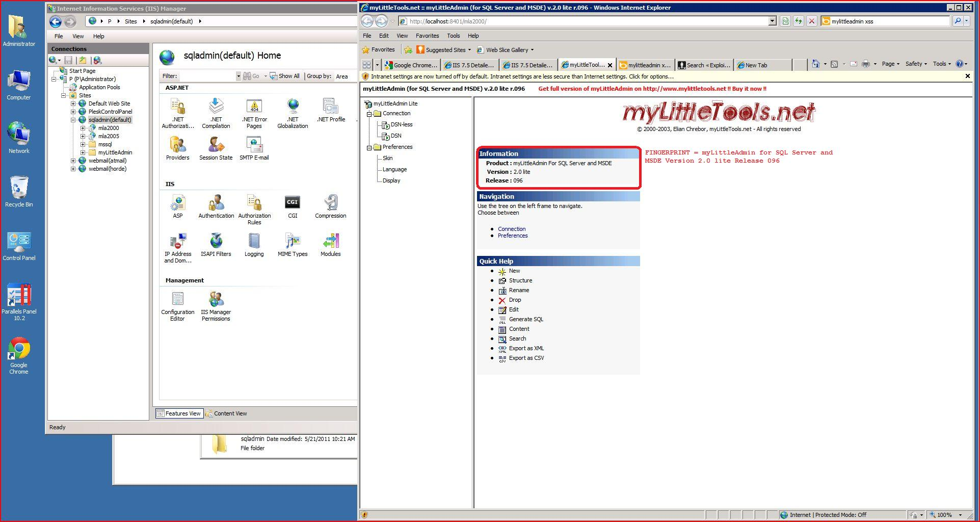 Stored XSS, Reflected Cross Site Scripting, myLittleSQLAdmin V2 0