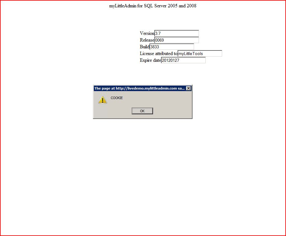 XSS in mylittlesqladmin Version 3 Release 0069 Build 3833, XSS, DORK, GHDB, Cross Site Scripting, CWE-79, CAPEC-86