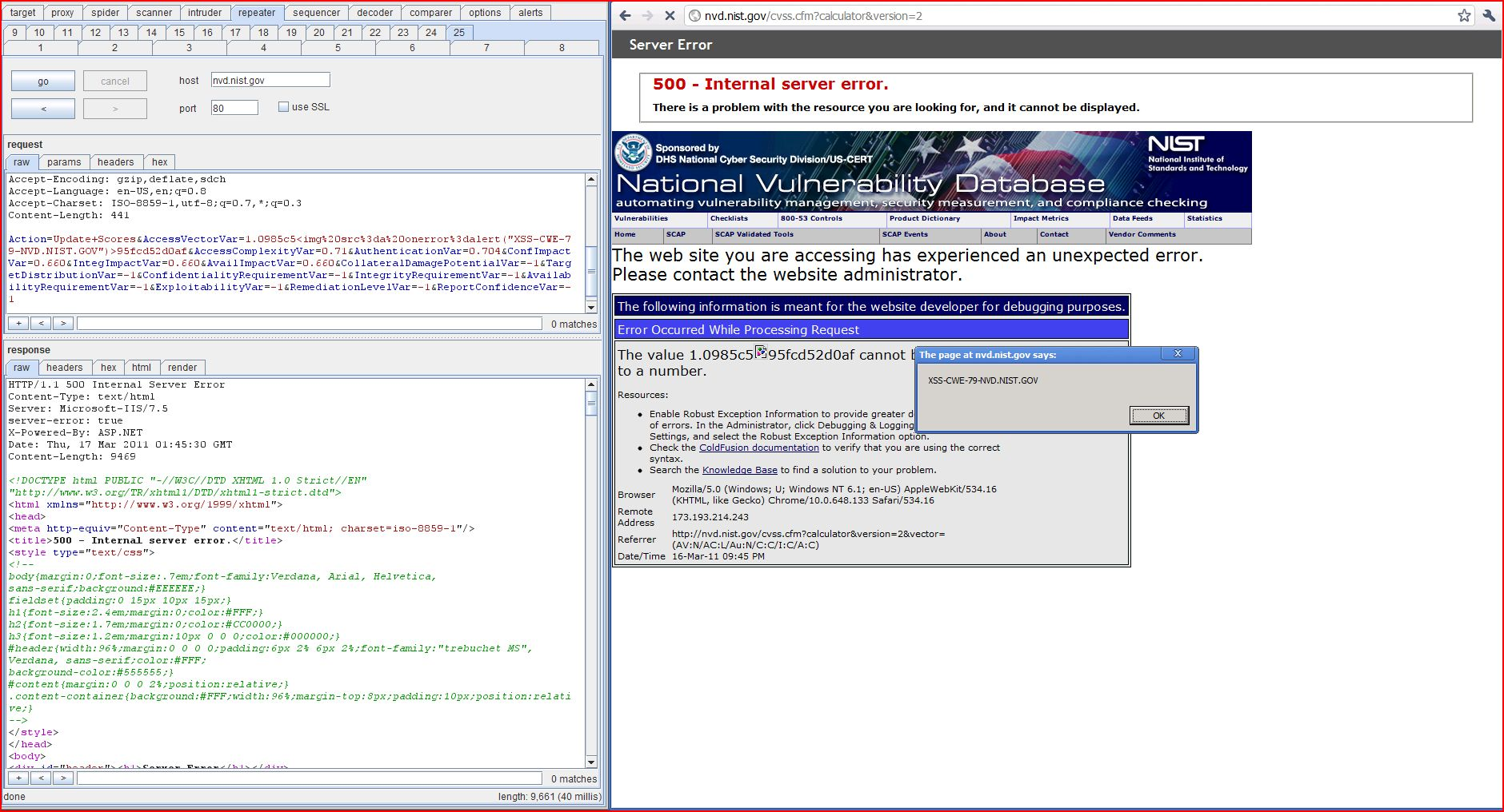 XSS in nvd.nist.gov, DORK, Cross Site Scripting, CWE-79, CAPEC-86