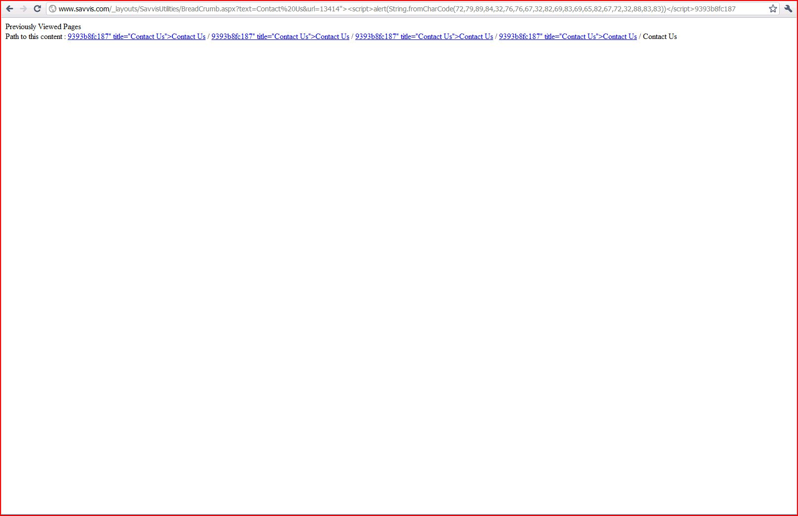 Stored XSS in savvis.com, DORK, Cross Site Scripting, CWE-79, CAPEC-86
