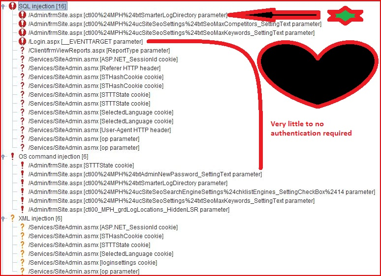 sql injection xml injection os command injection smarterstats 6 0