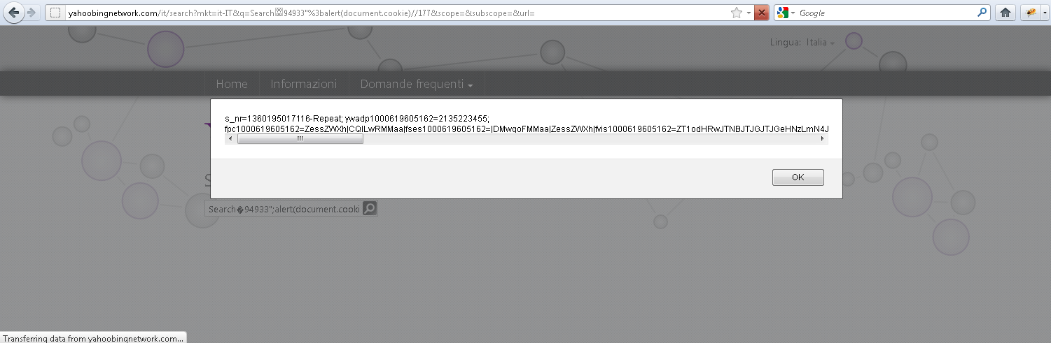 Zero Day XSS in yahoobingnetwork.com